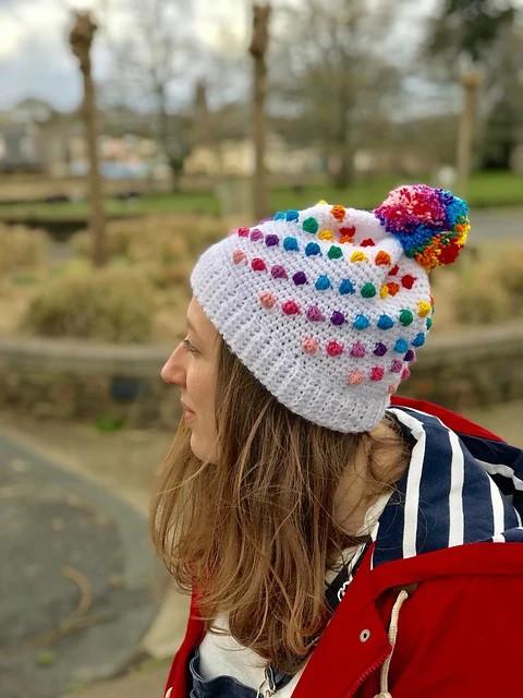 Beanie, hat, rainbow, pom pom, crochet, pattern, penniesfromdevon