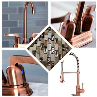copper finishings with backsplash