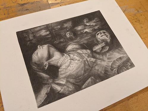 """The Lake"" Fine art giclee hand embellished"