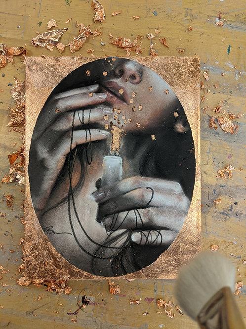 Lit mounted hand embellished print