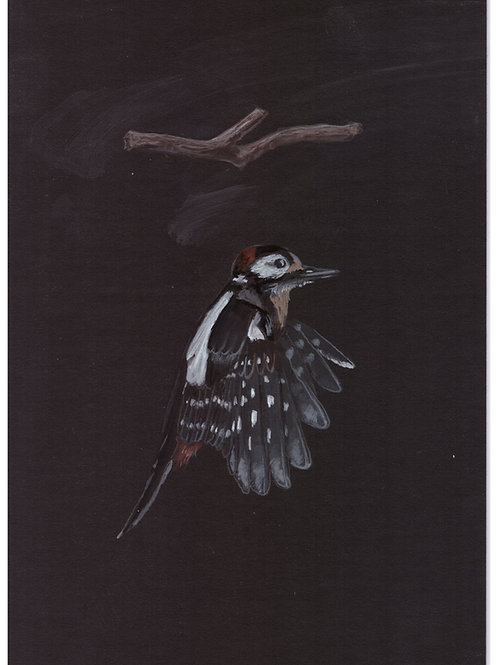 """""""woodpecker +log"""" original painting for the black edition obsidian oracle deck"""