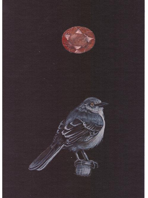 """""""mockingbird and sunstone"""" original obsidian oracle painting"""