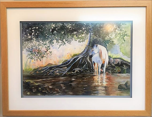 Unicorn in stream watercolor