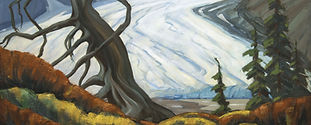 Image: Peter Whyte (1905 – 1966, Canadian). Athabasca Glacier. 1940 – 1950. oil on canvas. 63.5 x 76.0 cm. Gift of Catharine Robb Whyte, O. C., Banff, 1968. WyP.02.002. Whyte Museum of the Canadian Rockies.