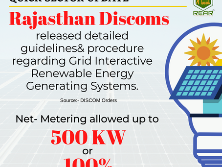 Rajasthan Discoms released the detailed Guidelines& procedure for Grid connected Solar projects