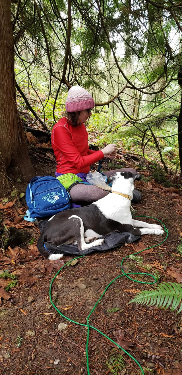 A white, brunette person with shoulder-length hair under a pink beanie and wearing a red long-sleeve shirt and brown leggings is sitting in a forest. The ground is dark brown dirt and there is a tree over the person. There is a black and white dog laying down facing the person. The person has a green fanny pack on their waist and a small blue backpack next to them.