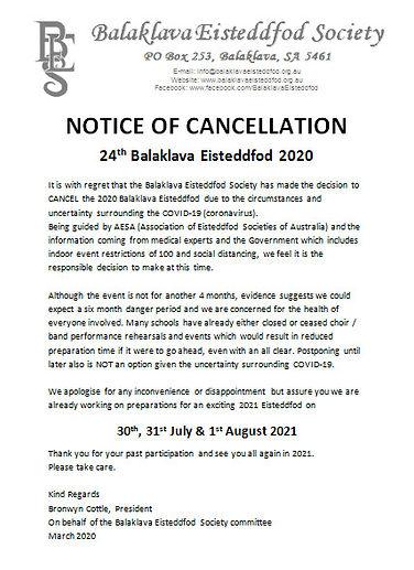 2020 Notice of Cancellation