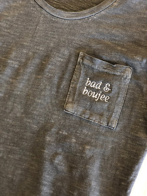 Bad & Boujee Embroidered Pocket Tee