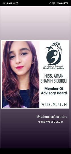 Miss. Aiman Siddiqui