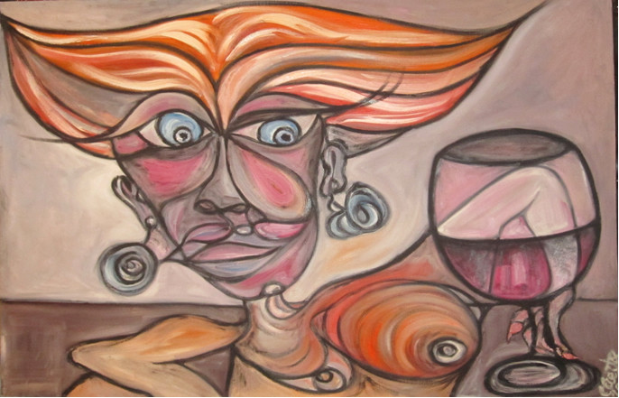 Imagen: La bebedora de vino de Constantino Cuesta