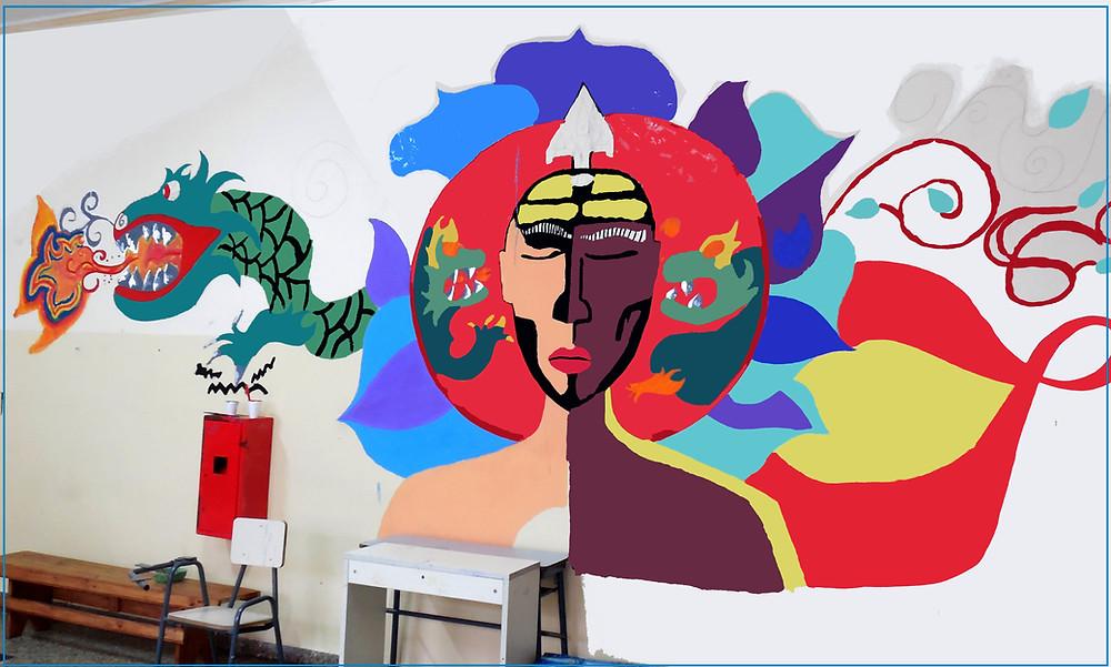Mural en construcción   a cargo de Julian . Marcelo . Jose . Nicolas. Lautaro  en el taller de arte  de Veroka en el Centro Cerrado Agote