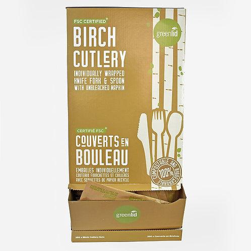 Birch Foodservice Set Dispenser (1 Spoon, 1 Knife, 1 Fork, 1 Napkin)