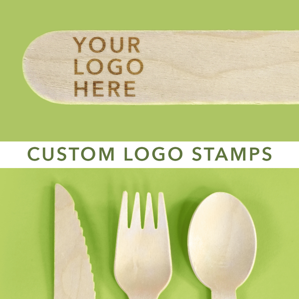 Customizable Birch cutlery with custom logo stamps