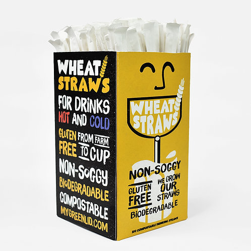"""Paper Wrapped Wheat Straws 8"""" (203mm) Bilingual ENG,FR"""