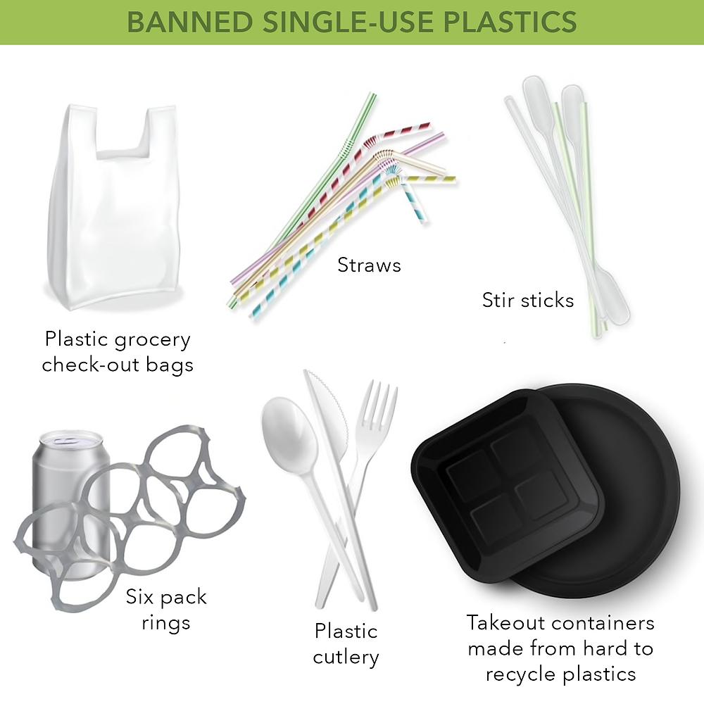 Image of the list of banned single use plastics