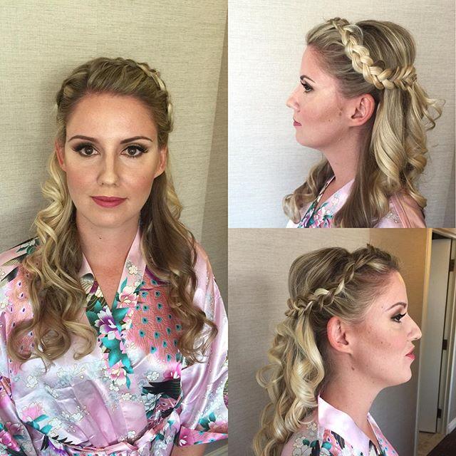 Bridesmaid makeup and hair by Kay for _mercedesleebeauty #braids #bridalupdo #bridalmakeup #bridesma