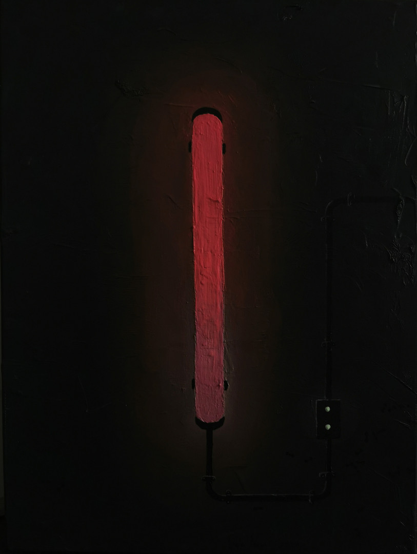 Neon Pink (in the dark), oil, powder, ca