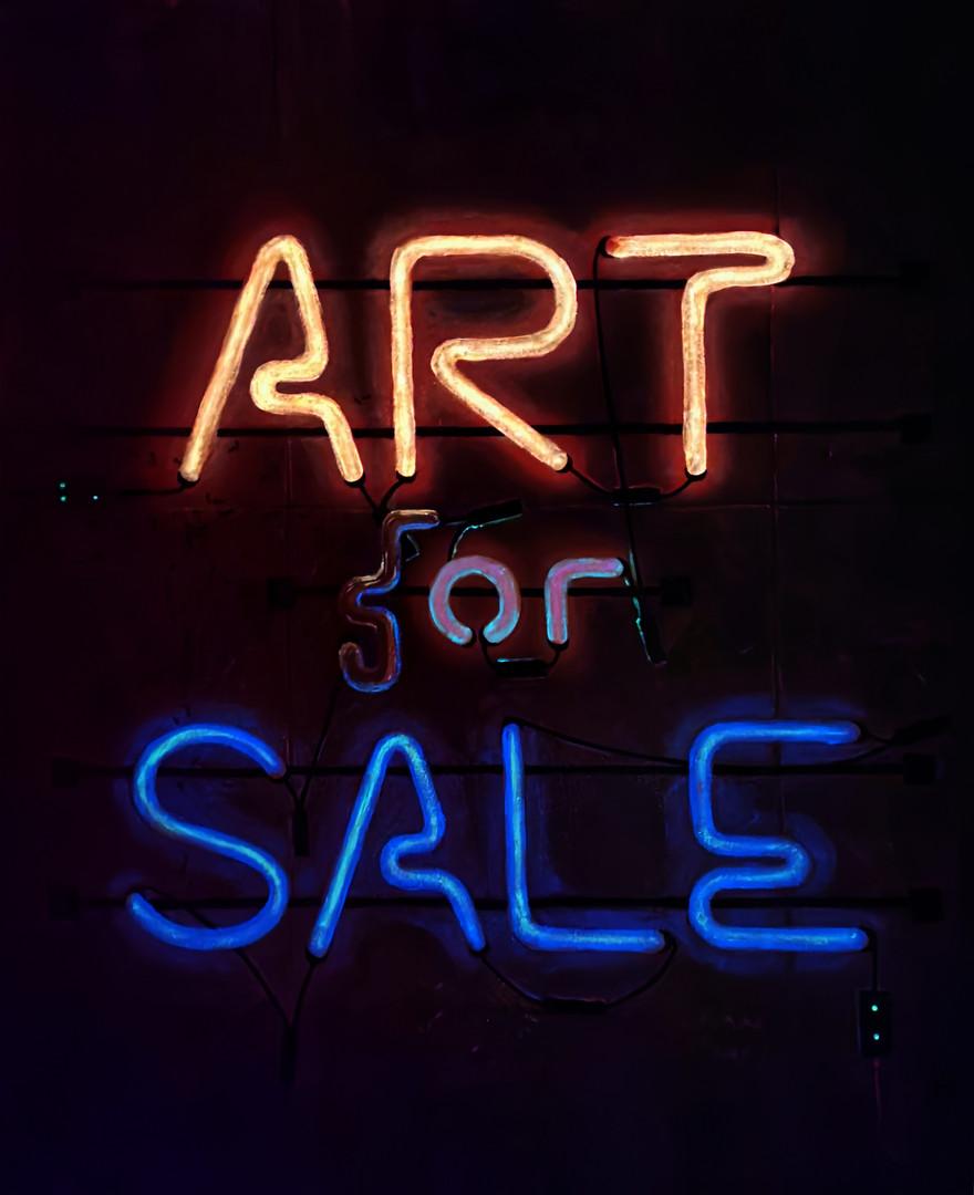 Art (f)or Sale, (in the dark), oil, acry
