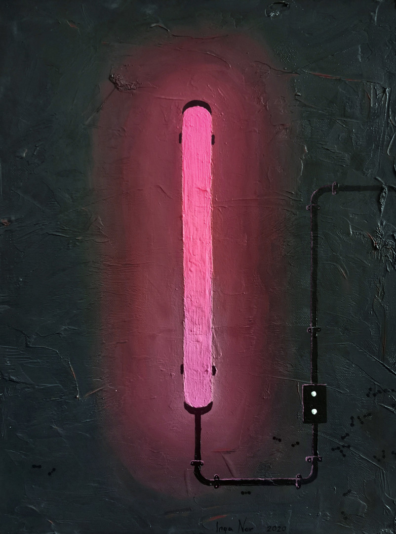 Neon Pink, oil, powder, canvas, 30x40cm,