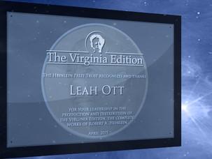 Leah Ott - First Recipient of the HPT Virginia Edition Award