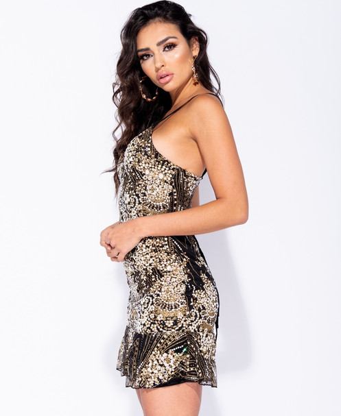 64a9dd951a470 This glitter print cami mini dress featuring lace up back & frill hem is  guaranteed to get heads turning for all the right reasons.