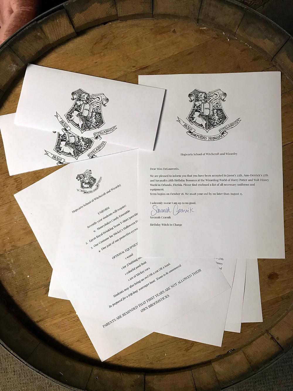 Hogwarts Acceptance Letter Invitations