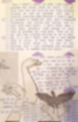 This is a snippet of page 8 before completion. Everything in the image is black and white except for purple paited diamonds in the background. There are images of hands making shadow birds and a game of tic tac toe is to the left. The words are telling various experiences of children being forced to leave their parents at residential schools