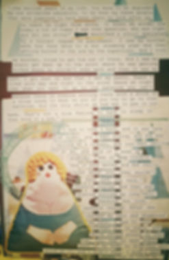 "This is a section from the zine ""Atrocities Against Indigenous Canadians for Dummies."" This page is a collage and in the lower left hand has an image of a homemade satin stuffed angel. The cut out words, in courier font, are around the stuffie, and they described two story of church officials abusing two children while at a residential school"