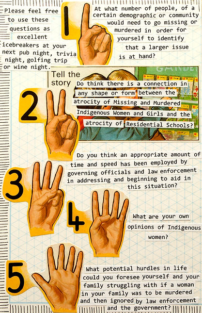 A collaged page that has various snippets of dicussion questions for Issue 2