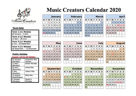 2020 Calendar Music Creators