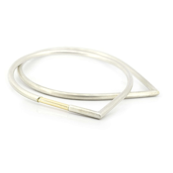 Set of 2: Stacking Teardrop Bangles with Gold Accent