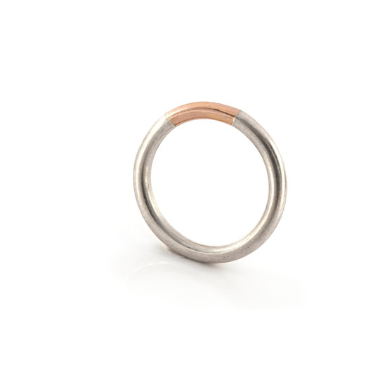 Minimalist gold and silver ring