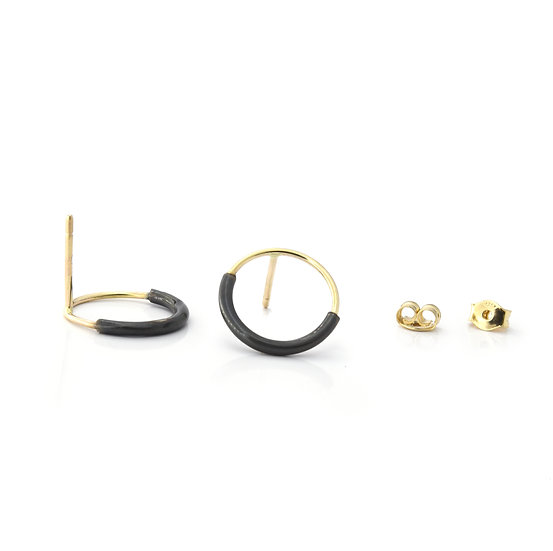 14K Gold and Sterling Silver Circle Stud Earrings