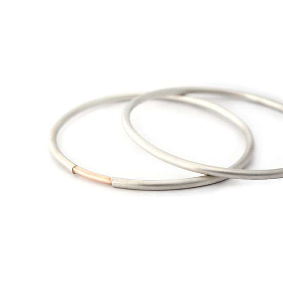 Set of 2: Stacking Bangles with Gold Accent