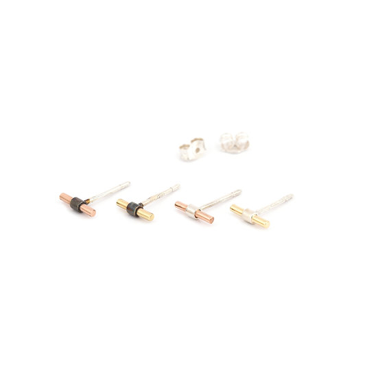 Tiny Gold and Silver Bar Earrings