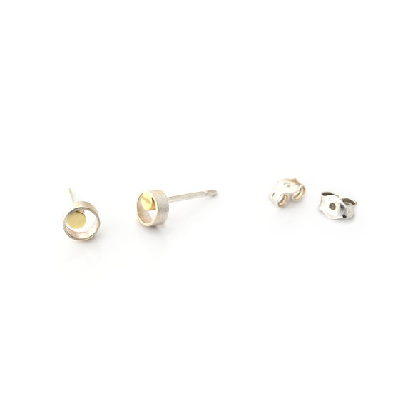 Small gold and silver dot earrings