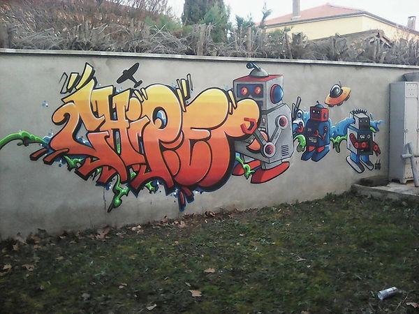 Chipie Graffiti Lyon les robots décoration extérieure
