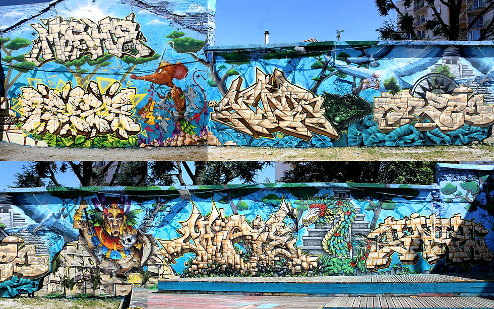 Fresque Maya Gek Team Graffiti Saint-Etienne