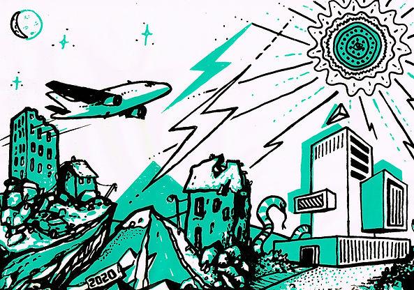 «2020, poursuite du rêve»  Sérigraphie 2 couleurs (Réalisée aux Ateliers Rêveurs)  format A4 de papier blanc ou coloré 160 ou 240g réalisée en 2017 en dual avec Archi Sev