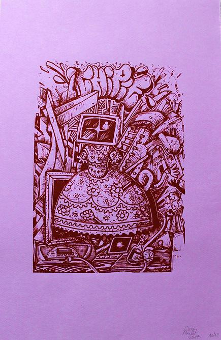 «Princesse Bazard'écran»  Sérigraphie (Réalisée aux Ateliers Rêveurs)  format demi-raisin, encre rouge surviolet ou noir sur jaune - Canson 220g  13 exemplaires numérotés et signés par l'artiste - Octobre 2017