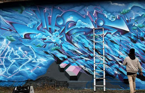 lettrage bleu de chipie, graffiti gek team à andrézieux bouthéon 2018
