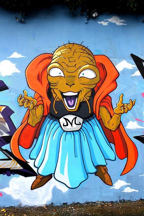 babidi en graffiti dragonball à saint-etienne par chipie gek team