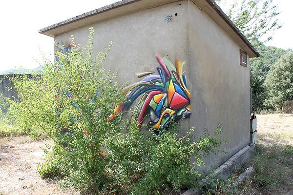 Fresque graffiti de Lyon à Alès dans les Cévennes. Un Freestyle Graffiti 3D à La ZEP Graffiti improvisé à Alès dans les Cévennes en Aout 2017 par Dorian roulet aka Dodo aka Chipie Graffiti Lyon.