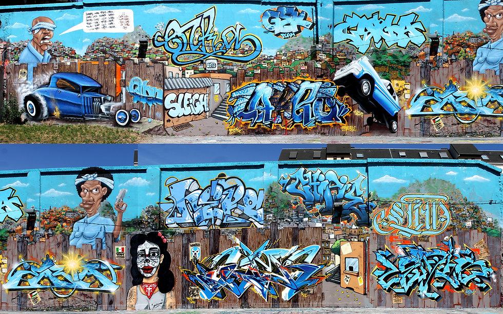 Fresque murale Chicanos Gek Team Graffiti Saint-Etienne