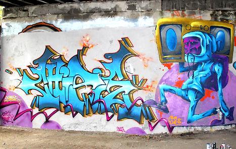 cette fresque a été réalisée a saint-Etienne par la GEK team de Graffiti stéphanois. Chipie dorian roulet et Sore sero perso bboy graffiti loire wildstyle impro writers