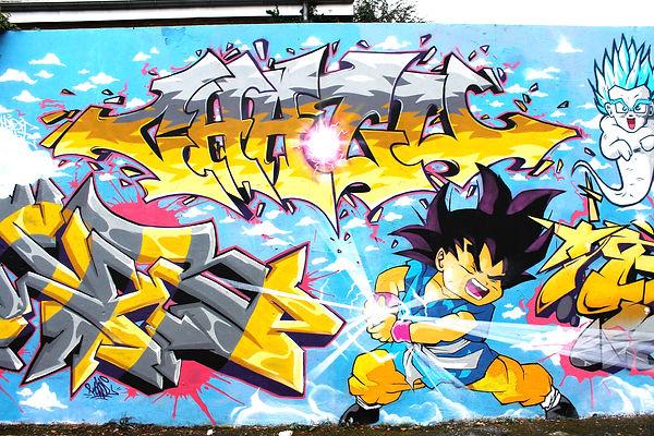 chozu par chipie et sangoku par soak gek team fait du graffiti a sain etienne