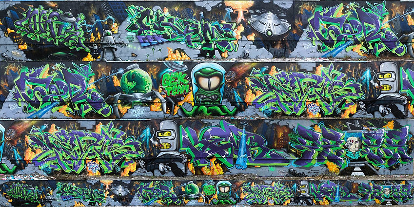 Gek Team Fresque Graffiti Saint-Etienne Bellevue Invasion