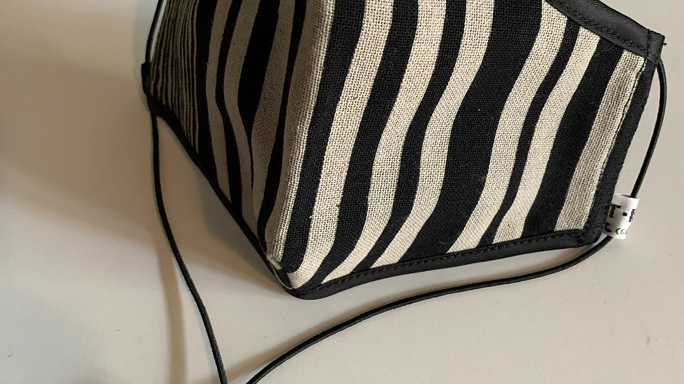 Black and White Stripe Mask (Design may vary)