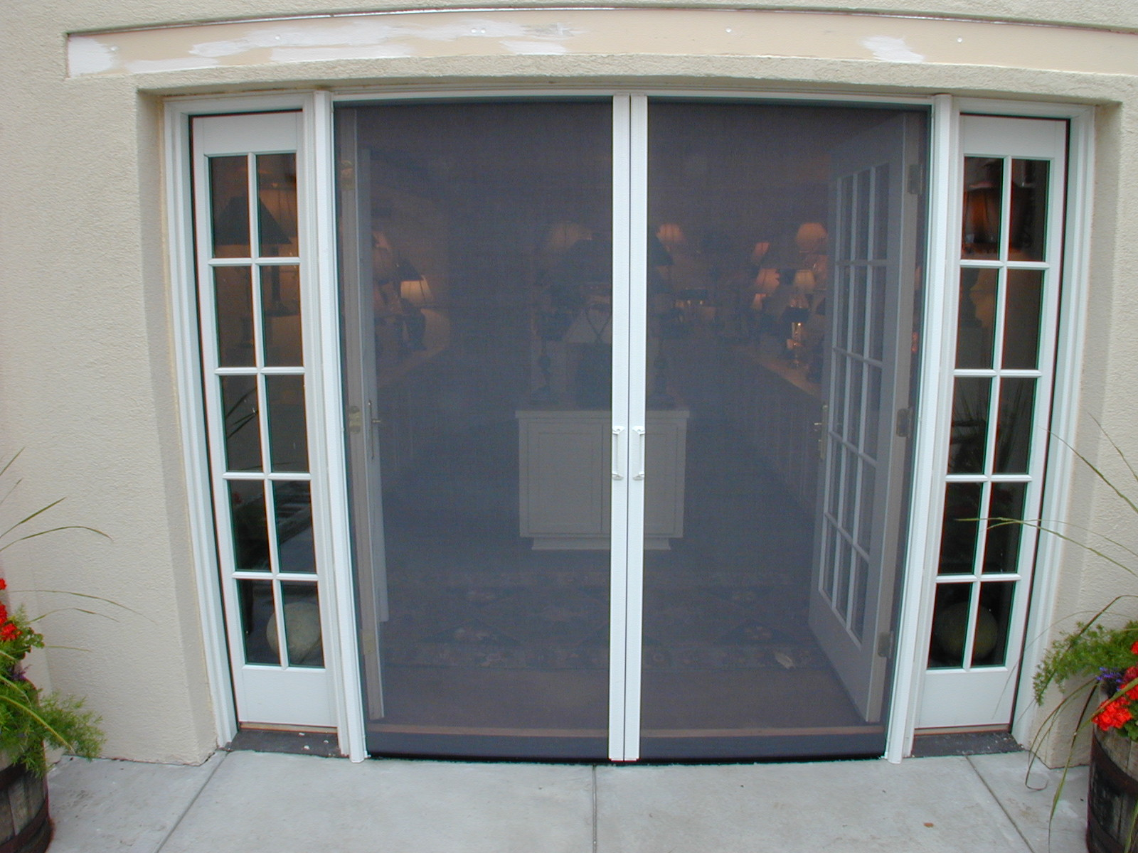 Screens in use on french doors