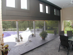 Screens down interior view